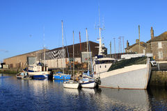 Boats moored in Glasson Dock, Lancashire, England Stock Photography