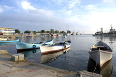 Boats Moored In Harbor royalty free stock photo