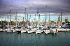 Boats moored in harbor Stock Images