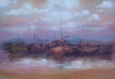 Boats moored in the harbor handmade painting Royalty Free Stock Photos