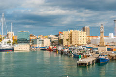 Boats moored in the harbor at Marina, Port Vell in Barcelona, Spain. Royalty Free Stock Photos
