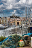 Boats moored in the harbor at marseilles, France Royalty Free Stock Photo