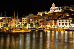 Boats moored in Ibiza at night Stock Images