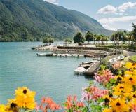 Boats moored on Lake Molveno, Trento. Stock Images
