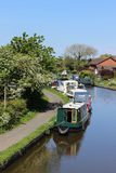 Boats moored on the Lancaster canal at Garstang Stock Images