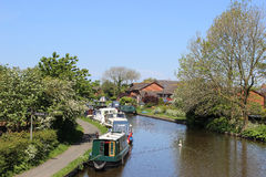 Boats moored on the Lancaster canal at Garstang Royalty Free Stock Photo