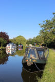 Boats moored on Lancaster canal at Garstang Stock Image