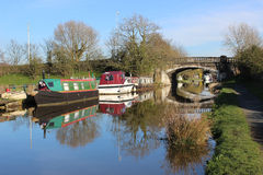 Boats moored on Lancaster canal at Garstang Stock Photography