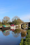 Boats moored on Lancaster canal at Garstang Royalty Free Stock Image