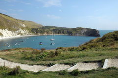 Boats moored in Lulworth Cove Stock Images