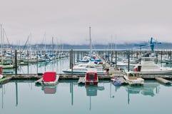 Boats moored at marina. Prince William Sound, Alaska, USA Royalty Free Stock Image
