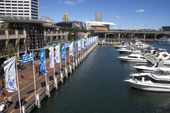 Boats moored in the marina at Darling Harbour. Royalty Free Stock Photo