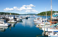 Boats moored at marina in Friday Harbor. Friday harbor is popular with sailors and boaters when they visit the San Juan Islands in Washington State Royalty Free Stock Images