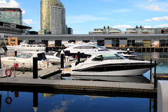 Boats moored in Melbourne Stock Photo