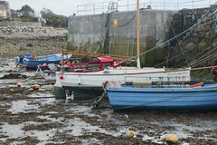 Boats moored near city of Galway, County Galway Stock Photo