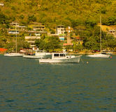 Boats moored at ocar, bequia Royalty Free Stock Photo