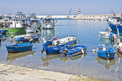 Boats moored at port. Royalty Free Stock Photo
