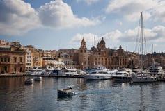 Boats moored port of the island Goza Stock Photo