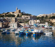 Boats moored port of the island Goza Royalty Free Stock Image