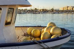 Boats moored in the port of Santa Pola, Alicante. Spain.  Royalty Free Stock Images