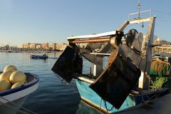 Boats moored in the port of Santa Pola, Alicante. Spain.  Stock Photography