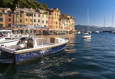 Boats moored in Portofino harbour, Italian Riviera stock photos