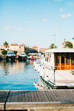 Boats moored on the quay near the old town of Budva, in Monteneg Royalty Free Stock Images