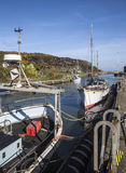 Boats moored at quayside at Amlwch Port on Anglesey, Wales, UK. Stock Image