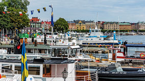 Boats moored at the Skeppsholmen islet Stock Photography