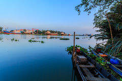 Boats moored. Small boats moored along the Tha Chin River in Thailand royalty free stock photos