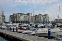 Boats moored at Sovereign Harbour, Eastbourne, England Stock Photography