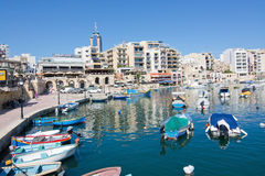Boats moored in Spinola bay Stock Images