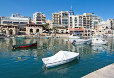 Boats moored in Spinola bay Stock Photography