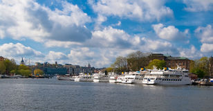 Boats are moored in Stockholm. Ships are moored in the center of Stockholm Royalty Free Stock Photography