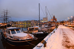 Boats moored in the winter Royalty Free Stock Image
