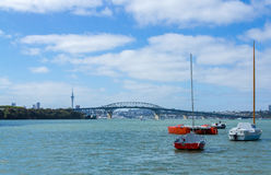 Boats Mooring at Little Shoal Bay Reserve Beach Auckland New Zealand Stock Images