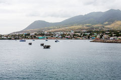 Boats and Mooring Platforms off St Kitts Stock Images