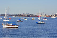 Boats mooring in Waitemata Harbour New Zealand Stock Photo