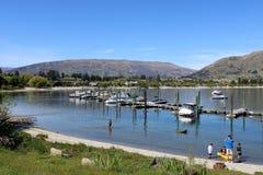 Boats at moorings at Wanaka on Lake Wanaka, NZ Royalty Free Stock Photo