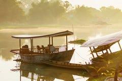 Boats in the morning on Sakae Krang River, Uthai Thani, Uthai Th Royalty Free Stock Photos