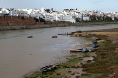 The boats in morocco. Some boats in the shore of the river in morocco Stock Images