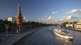 Boats on moscow river. In summer day Stock Photo