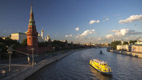 Boats on moscow river. In summer day Royalty Free Stock Photography