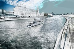 Boats on Moskva river. Moscow Russia  Filtered in  silver  tone royalty free stock photos