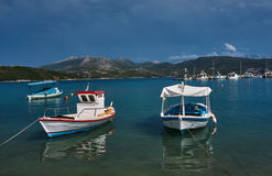 Boats and motorboats in the harbor Royalty Free Stock Image
