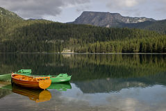 Boats on the Mountain Lake Stock Image