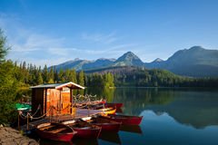 Boats on mountain lake in High Tatra Royalty Free Stock Photos