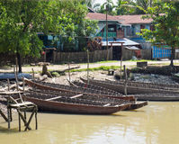Boats in Mrauk U, Myanmar Royalty Free Stock Photography