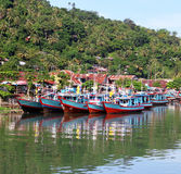 Boats on the Muaro River in Padang, West Sumatra Stock Image