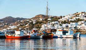 Boats at mykonos harbor Royalty Free Stock Photography